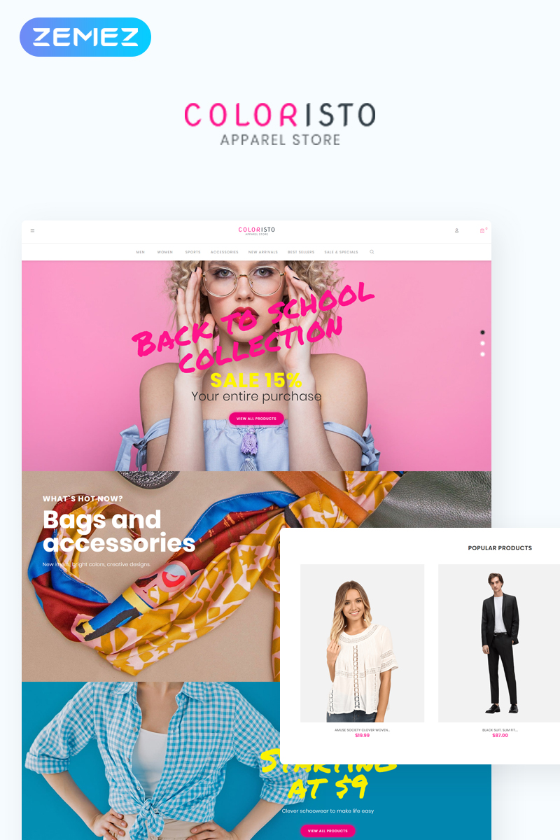 """Coloristo - Apparel Store ECommerce Modern Elementor"" thème WooCommerce adaptatif #76553"