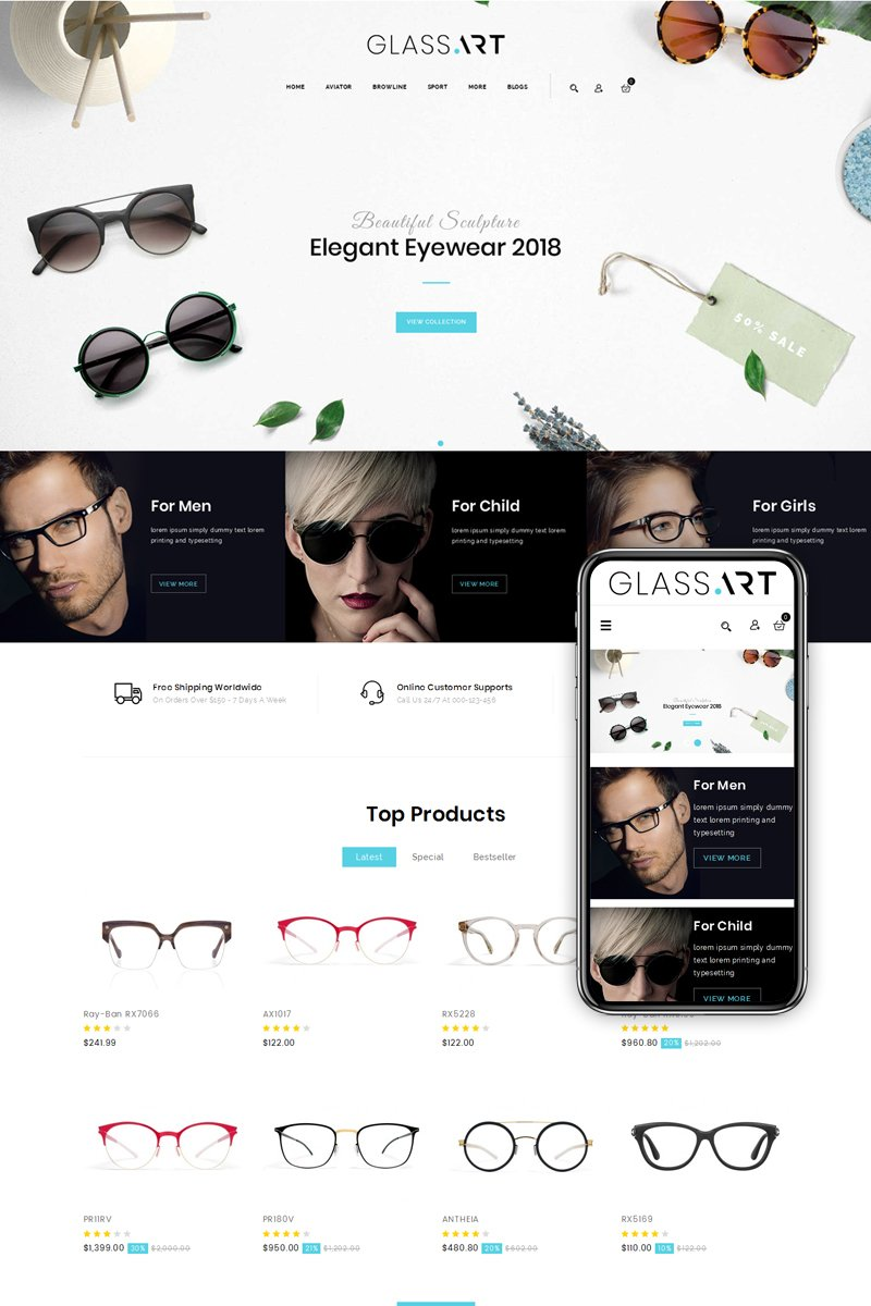 GlassArt - Sunglass Store OpenCart Template - screenshot