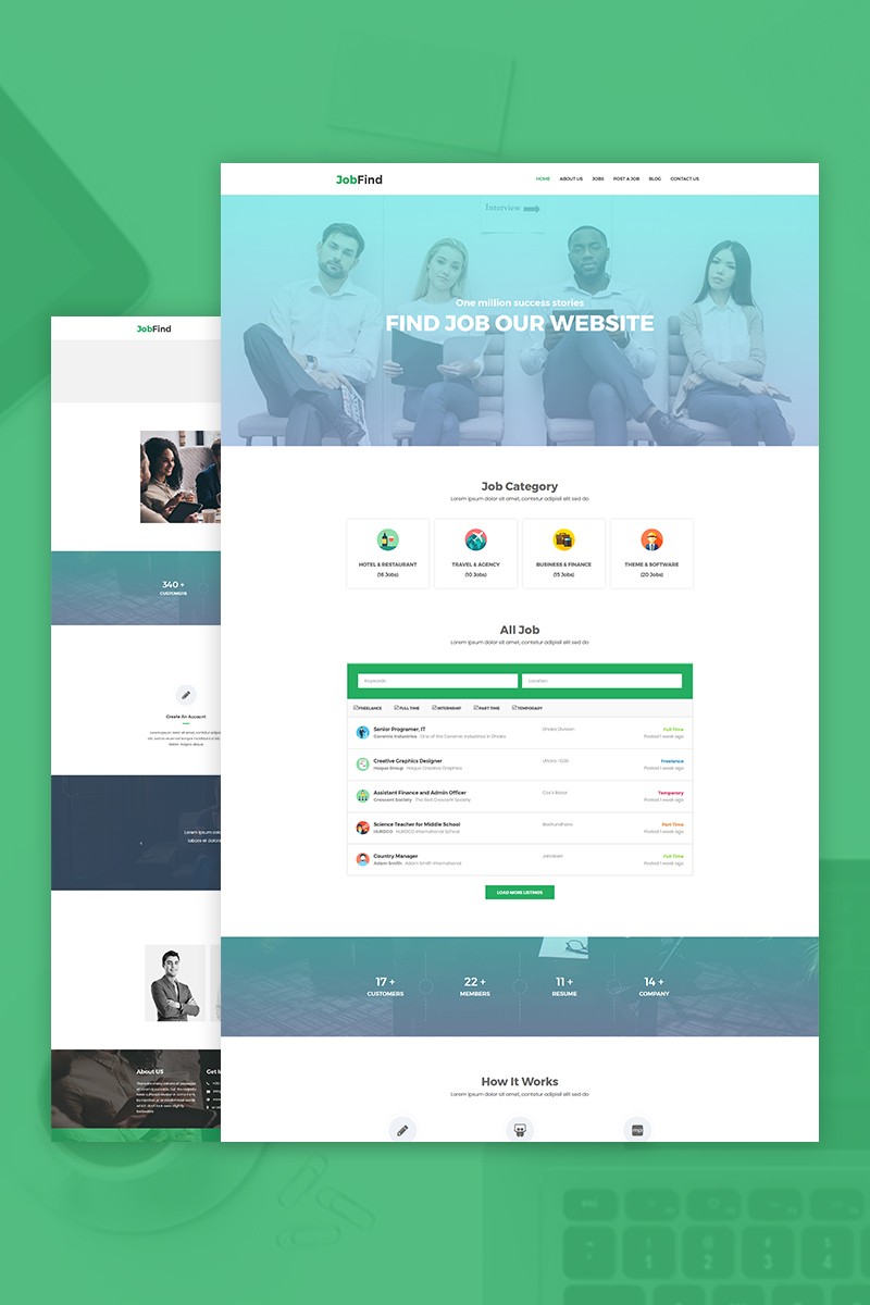 """JobFind - Job Board"" Responsive WordPress thema №76557"