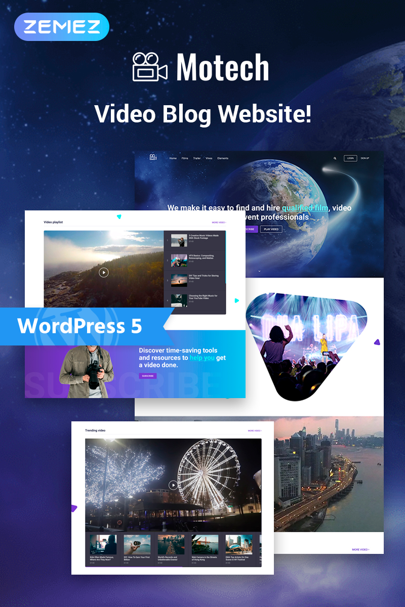 """Motech - Video Agency Multipurpose Creative Elementor"" Responsive WordPress thema №76543"