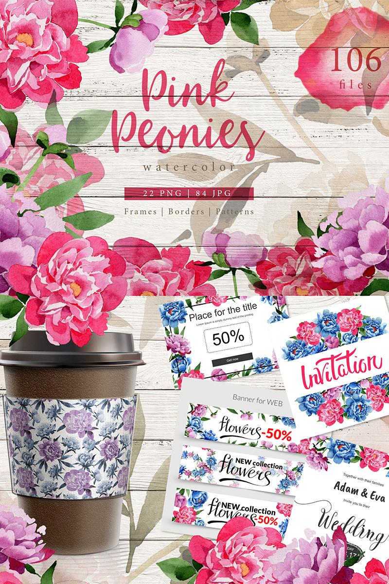 Pink Peonies Watercolor png Illustration - screenshot