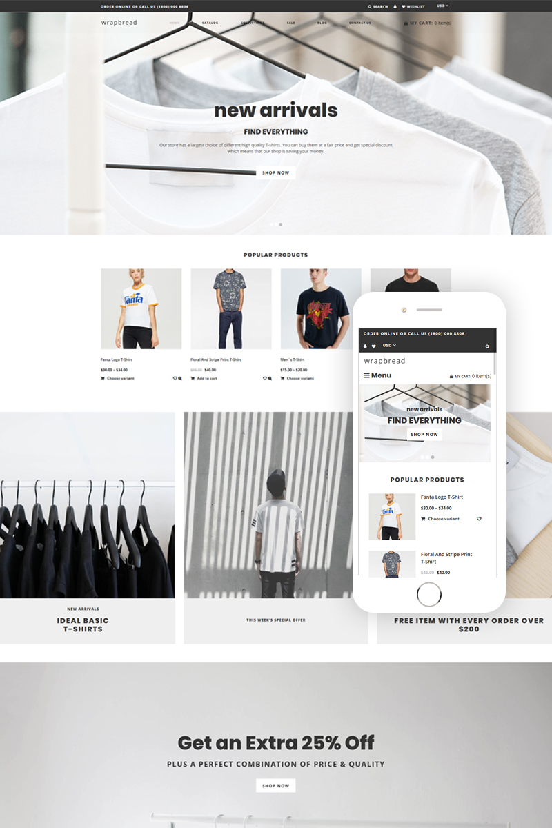 Responsywny szablon Shopify Wrapbread - Fashion Multipage Clean #76559