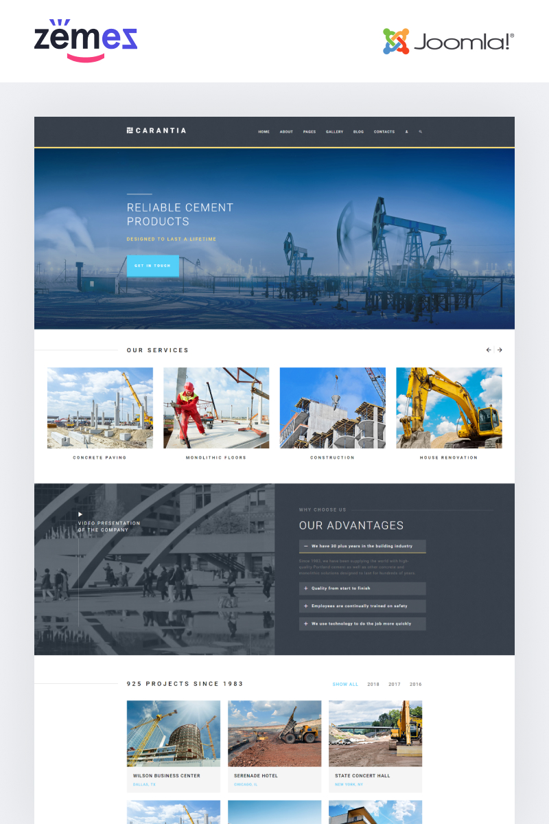 "Template Joomla Responsive #76567 ""Carantia - Construction company"""
