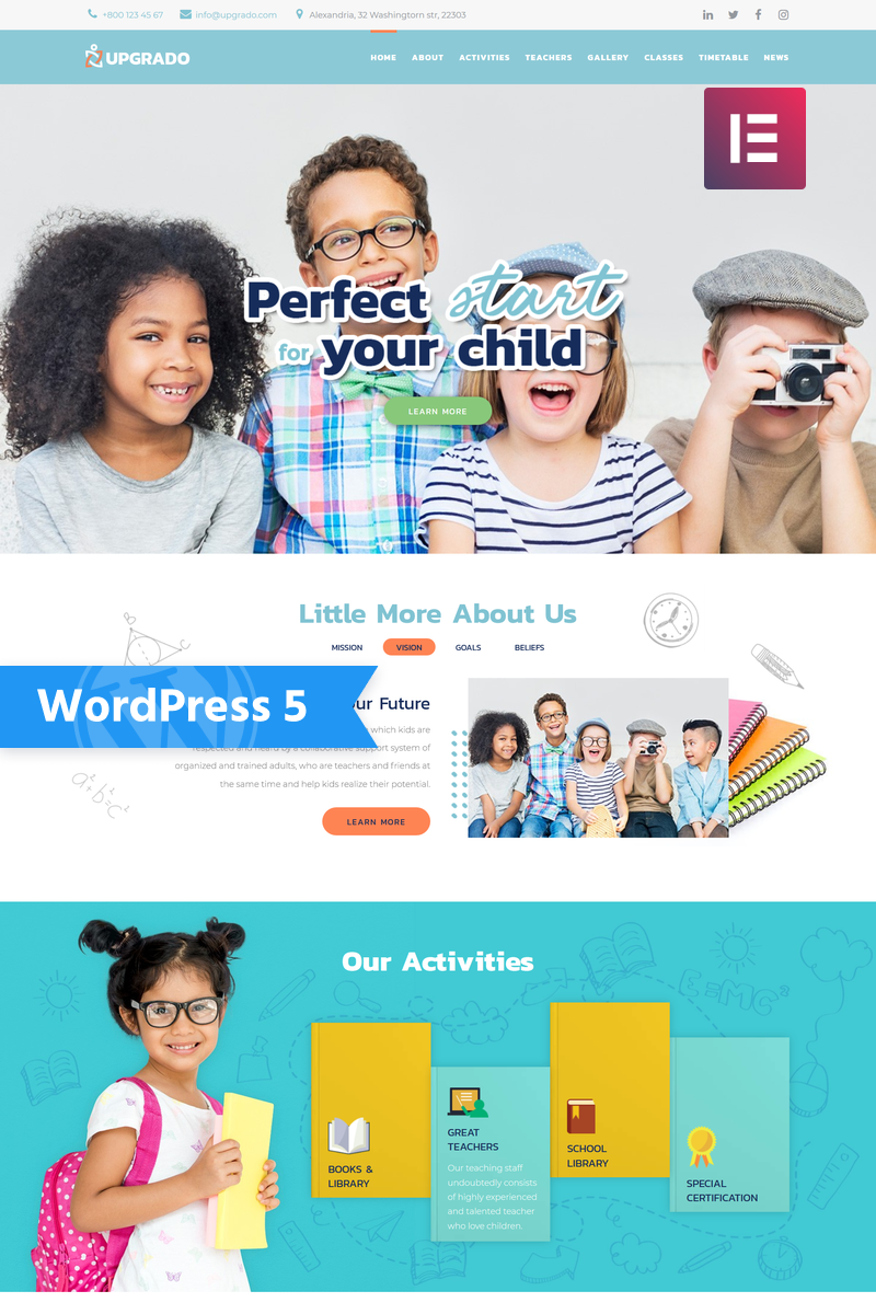 """Upgrado - Education Kids Multipurpose Modern Elementor"" thème WordPress adaptatif #76561"