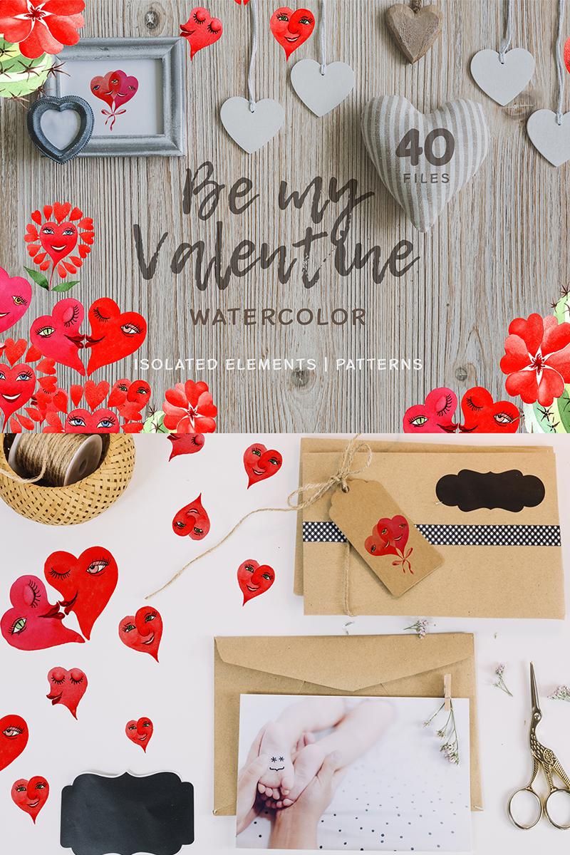 Valentine's Hearts Watercolor Png Illustration - screenshot