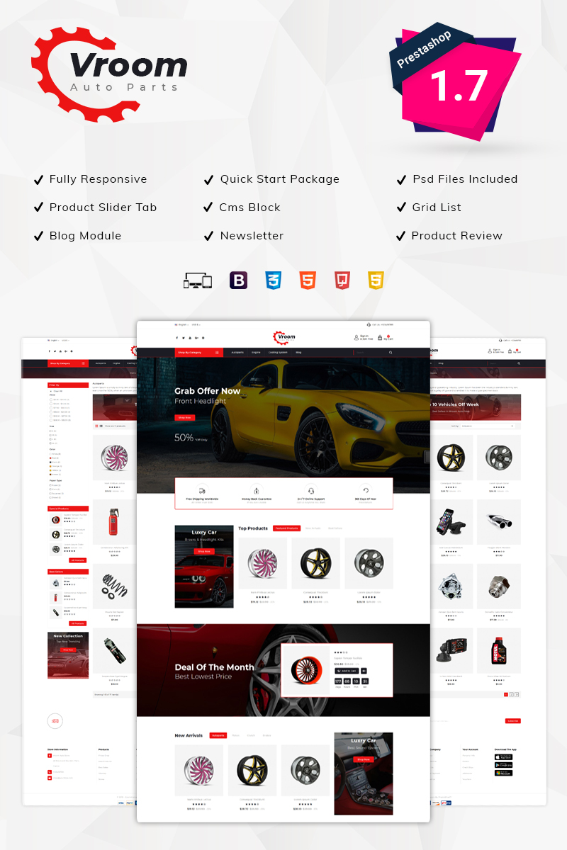 """Vroom -Auto Parts Store"" Responsive PrestaShop Thema №76535 - screenshot"