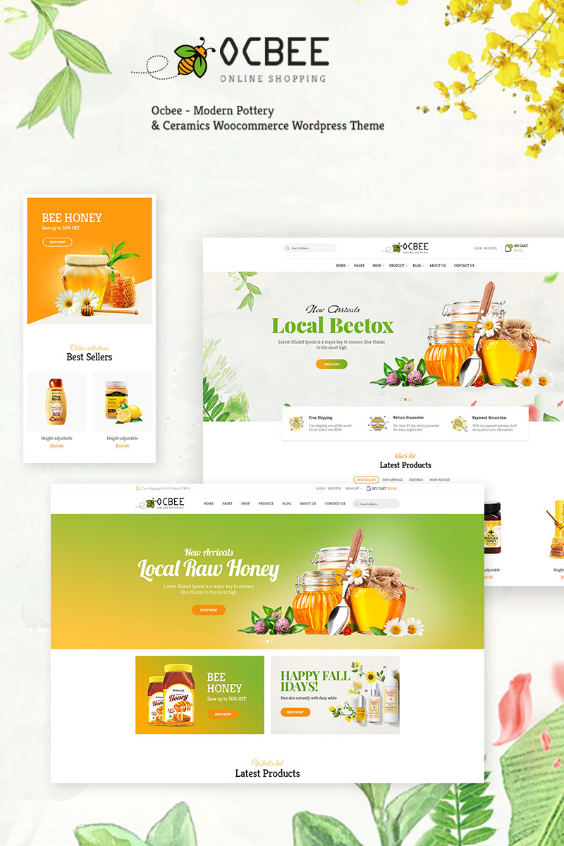 "WooCommerce Theme namens ""Ocbee - Honey Bee Production"" #76540"