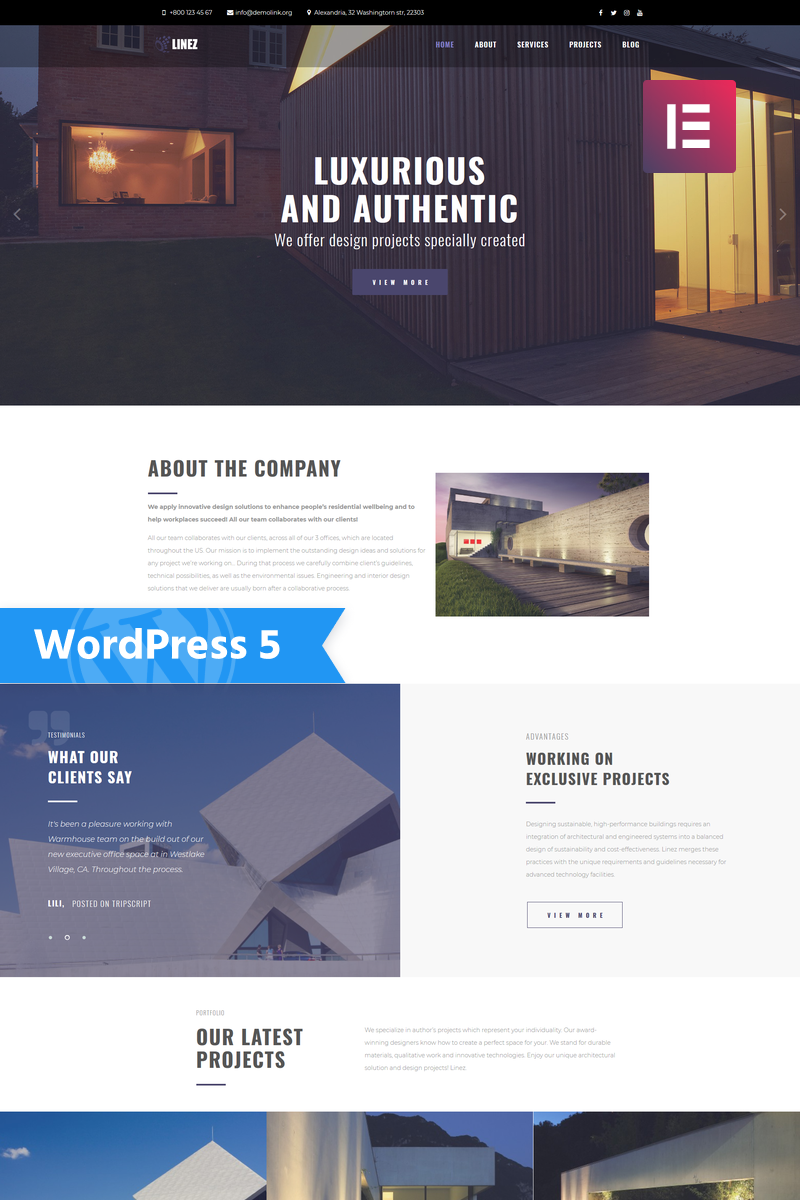 Linez - Architecture Services Multipurpose Modern Elementor WordPress Theme