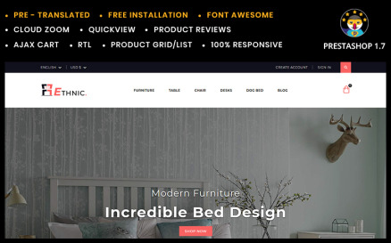 Ethnic Home & Furniture Store PrestaShop Theme