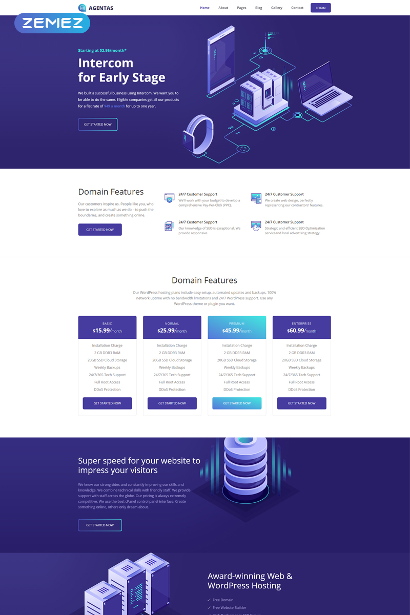 Agentas - Hosting Flat Design Clean Joomla Template