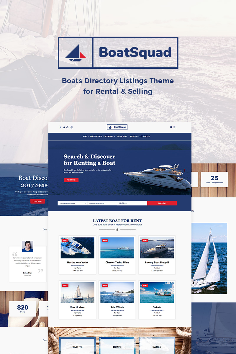 BoatSquad - Boats Directory Listings Tema WordPress №76603