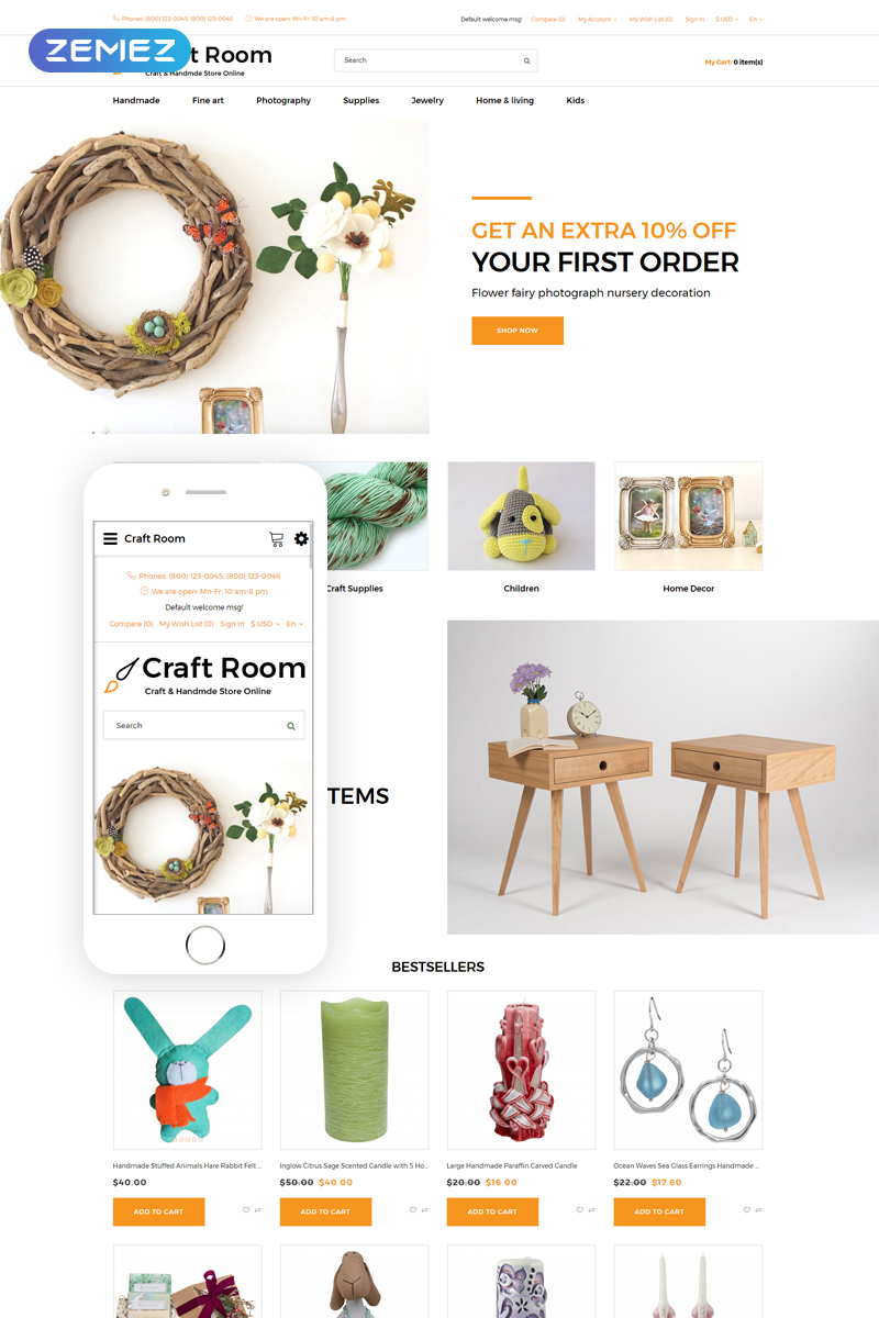 Craft Room - Handmade Responsive Stylish OpenCart Template