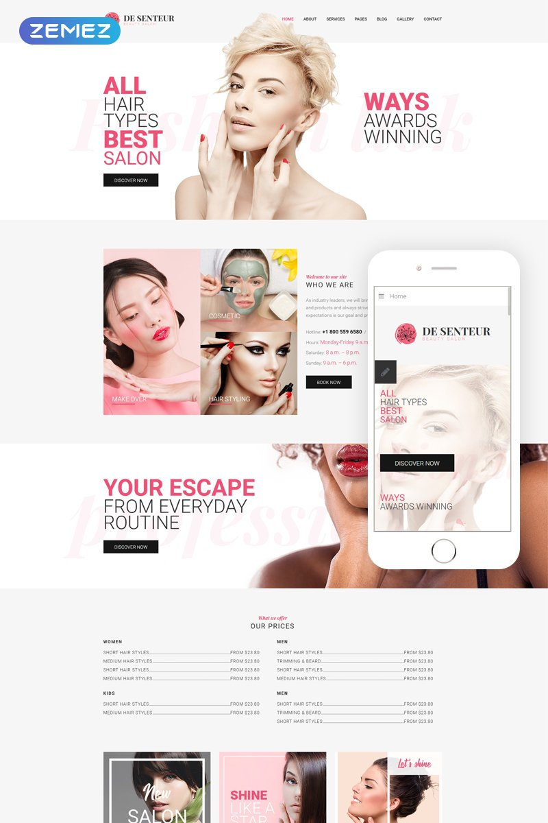 De Senteur - Beauty Salon Parallax Sophisticated Joomla Template