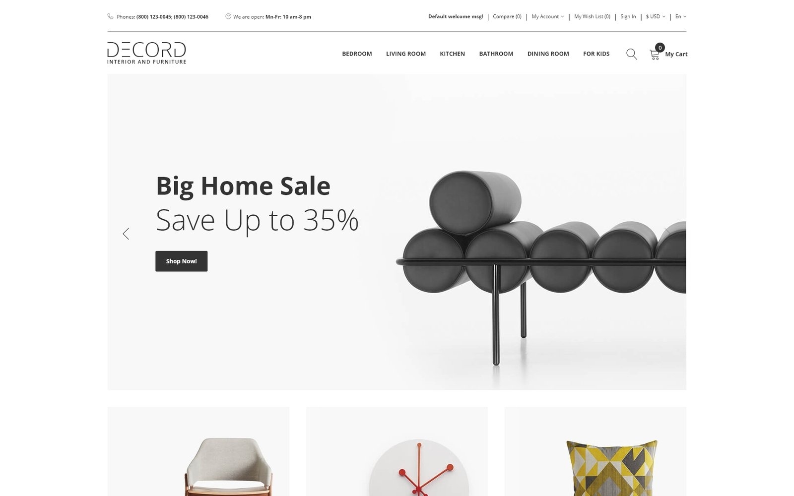 Decord - Interior And Furniture Store Clean OpenCart Template - screenshot