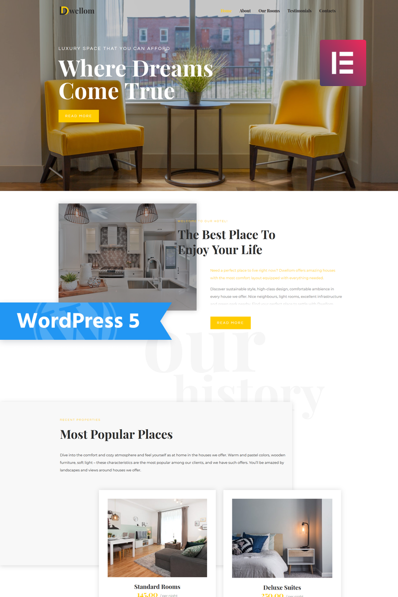 Dwellom - Hotel Clean Elementor WordPress Theme