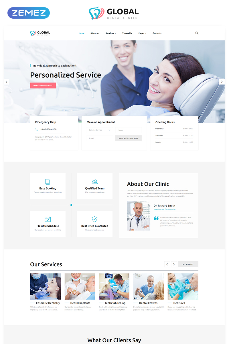 """Global - Dental Center Multipage Clean HTML5"" 响应式网页模板 #76693 - 截图"
