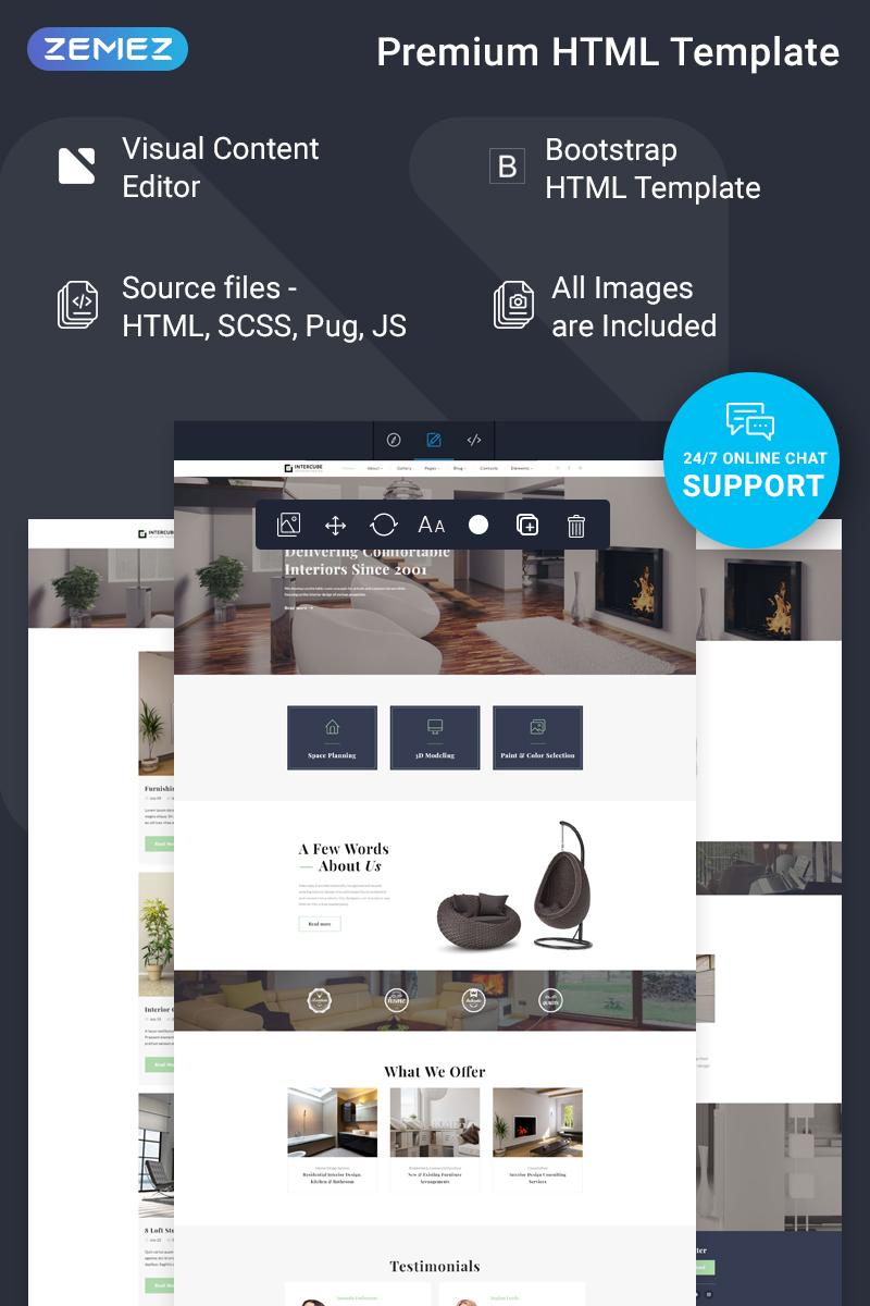 """Intercube - Interior Design Ready-to-Use Modern HTML5"" Responsive Website template №76650"