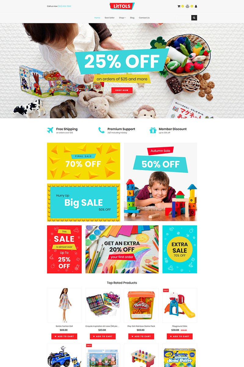 LitTOLS - Toys & Games Store MotoCMS Ecommerce Template