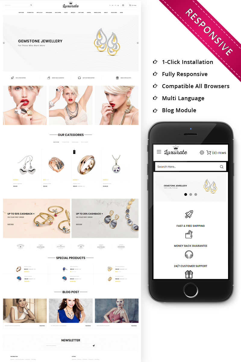 """""""Luxurate - The Jewellery Store Responsive"""" 响应式OpenCart模板 #76672"""