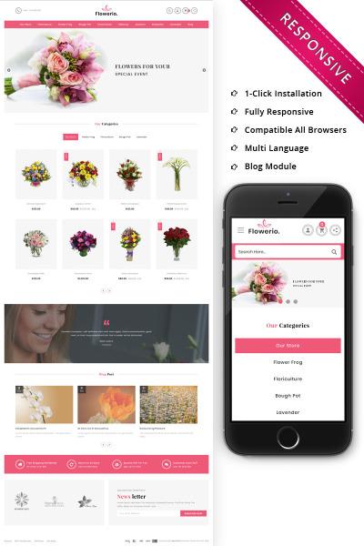 Адаптивный OpenCart шаблон №76640 на тему цветочный магазин