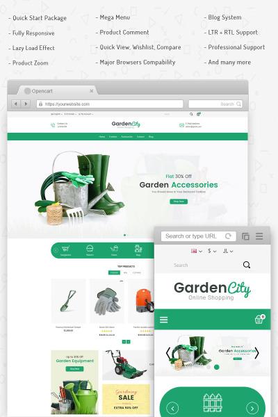 Адаптивный OpenCart шаблон №76695 на тему садоводство