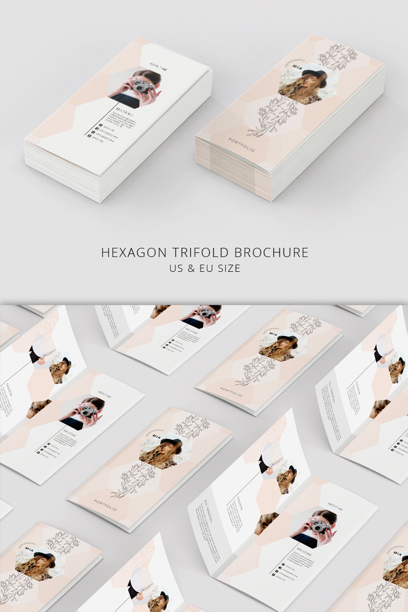 Portfolio Trifold Flyer Hexagon Corporate Identity Template