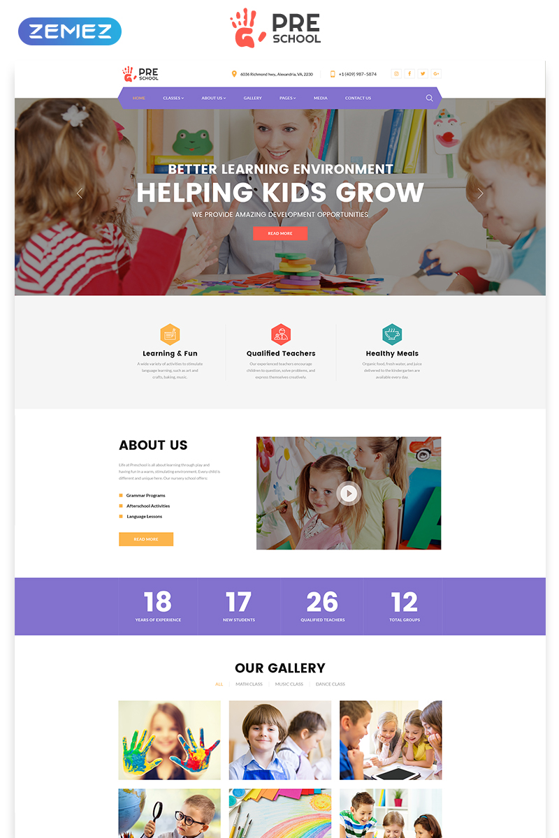 """Preschool - Education Multipage Clean HTML"" 响应式网页模板 #76608"