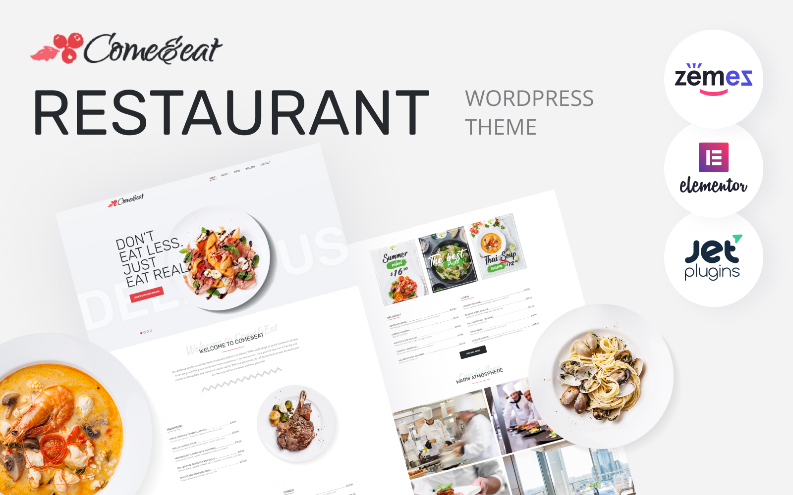 Responsivt Come&Eat - Restaurant Multipurpose Modern Elementor WordPress-tema #76607