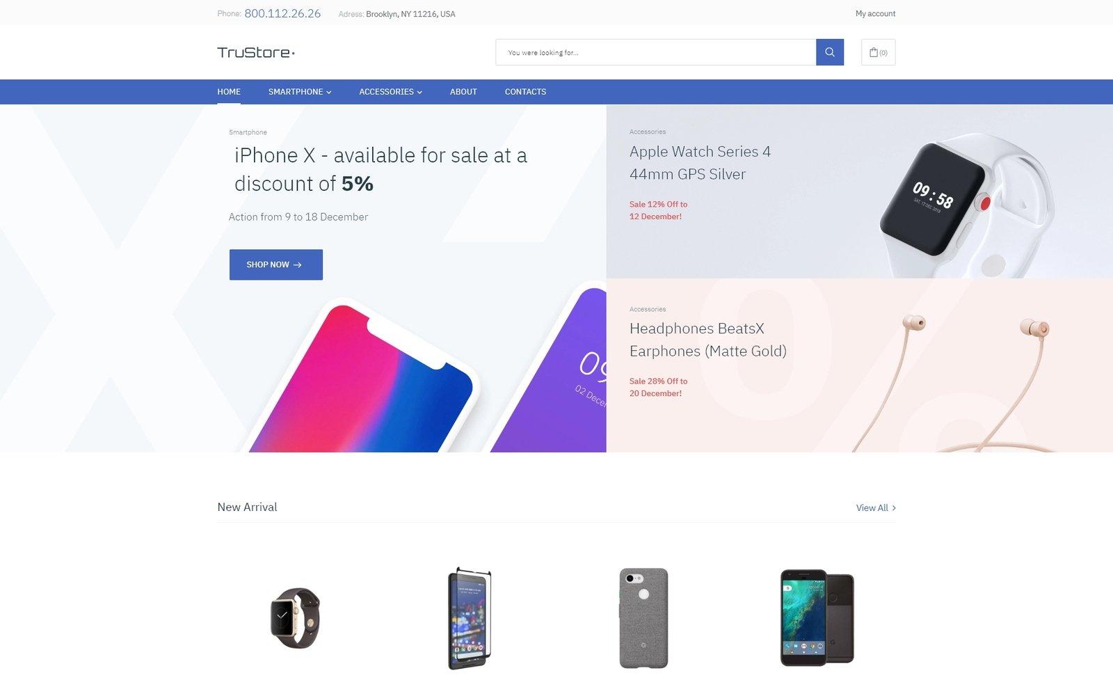 Responsivt TruStore - Gadgets Store ECommerce Minimal Elementor WooCommerce-tema #76609