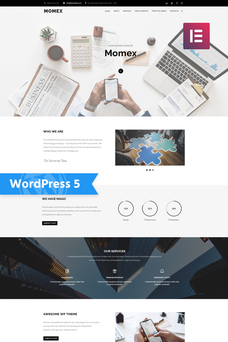 "Responzivní WordPress motiv ""Momex - Business Elementor"" #76676 - screenshot"