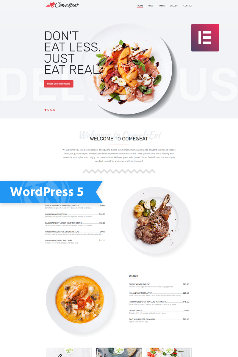 Reszponzív Come&Eat - Restaurant Multipurpose Modern Elementor WordPress sablon 76607