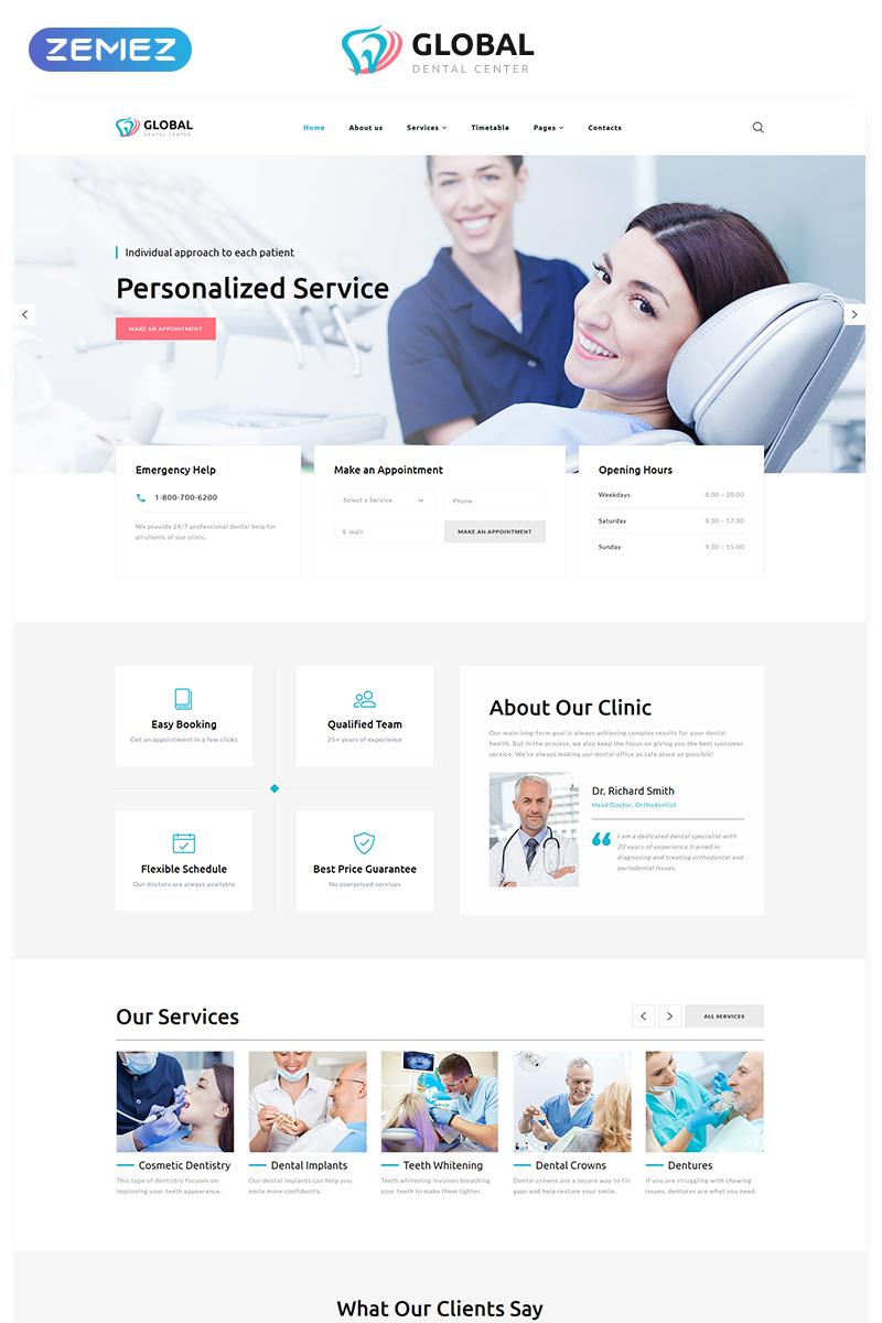 Reszponzív Global - Dental Center Multipage Clean HTML5 Weboldal sablon 76693 - képernyőkép