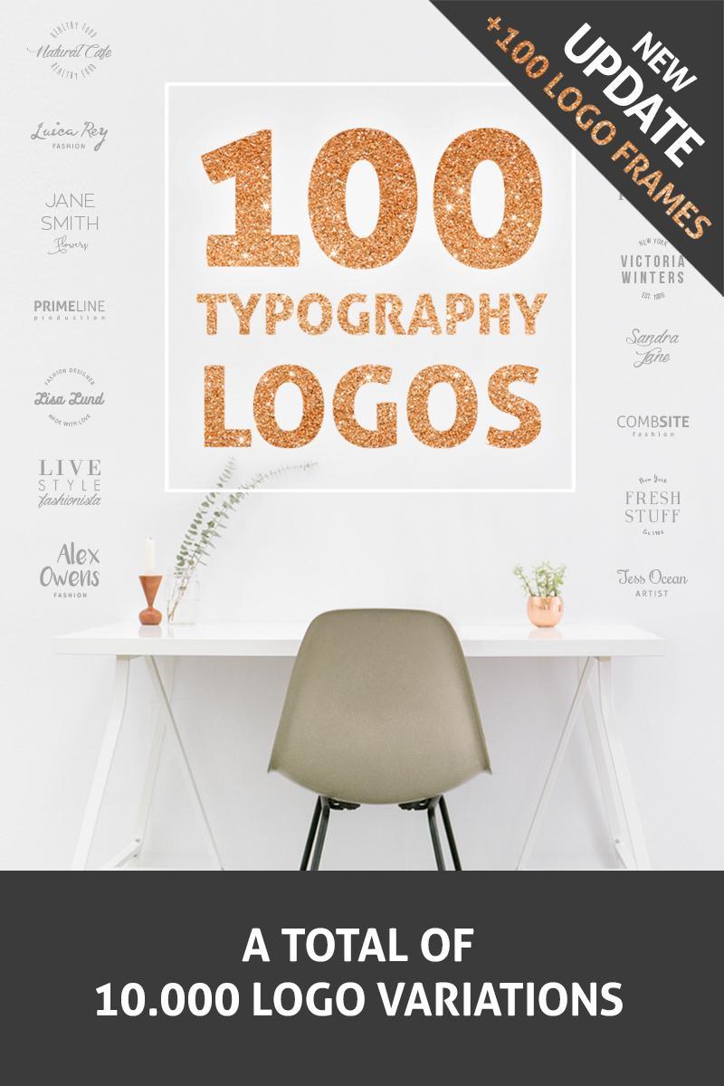 100 Typography Logos + 100 Frames Template de Logotipo №76674