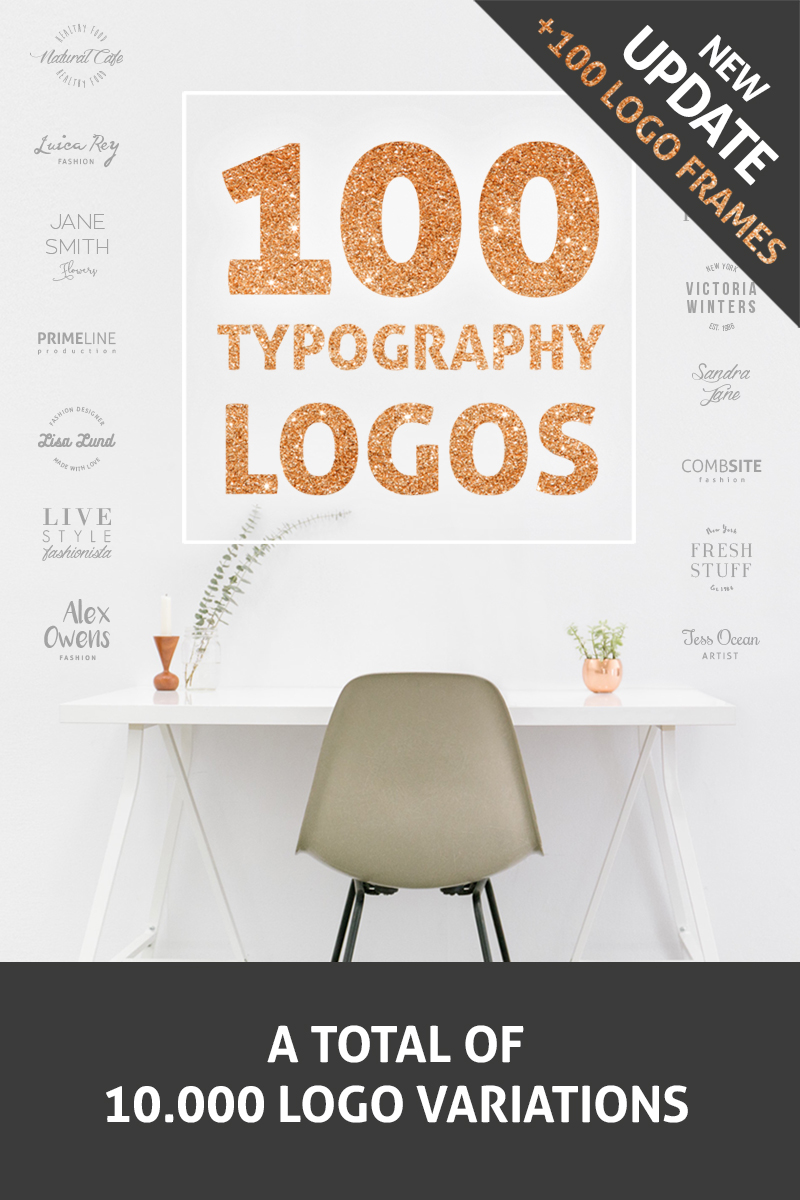 100 Typography Logos + 100 Frames Unika logotyp mall #76674