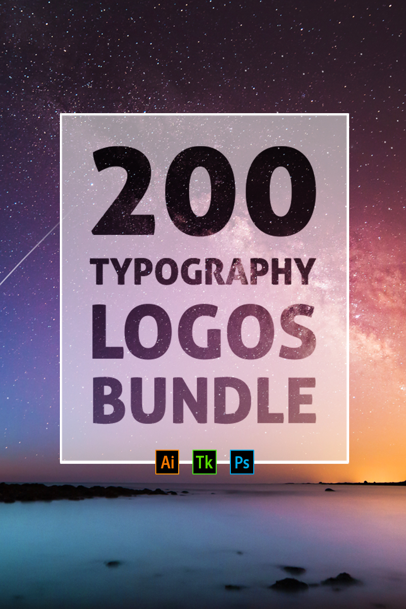 """200 Typography Logos"" - Шаблон логотипу №76677"