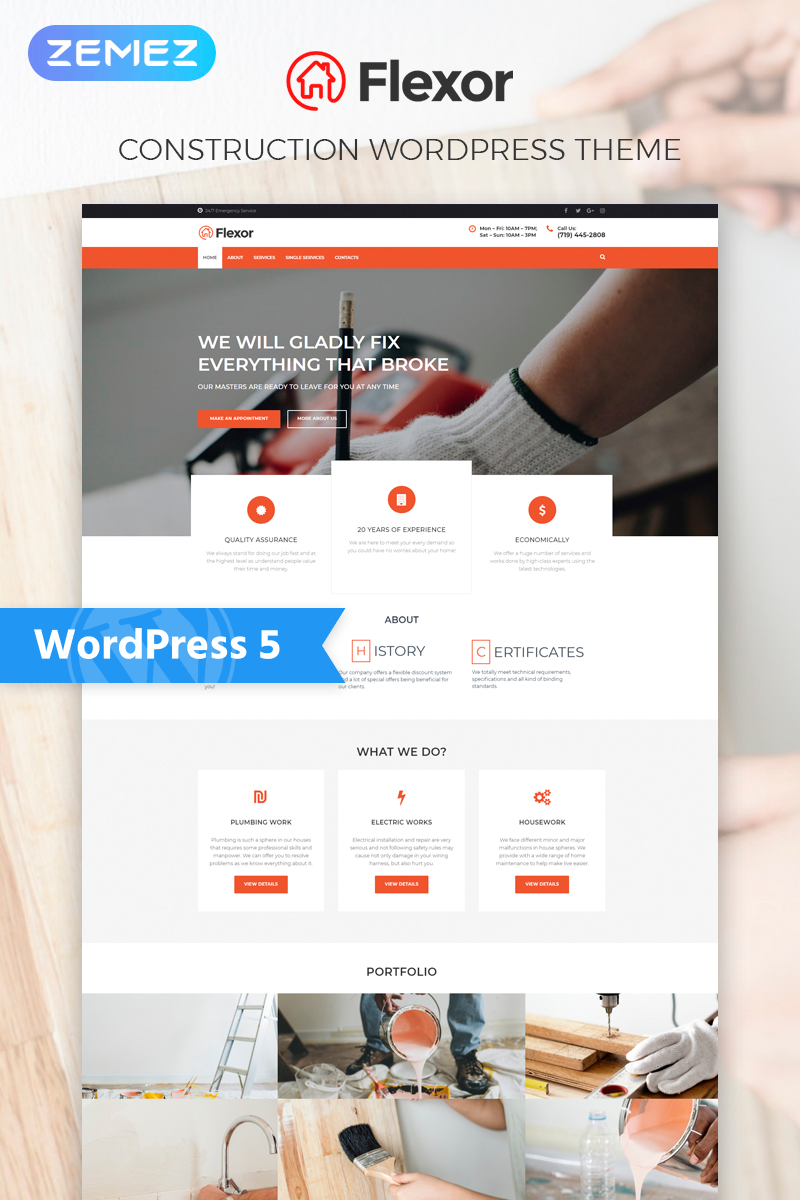Flexor - Repair Services Multipurpose Classic Elementor WordPress Theme