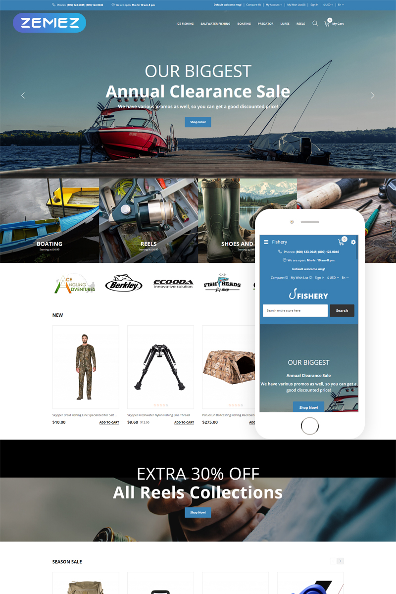 Fishery - Fishing Multilingual Practical OpenCart Template