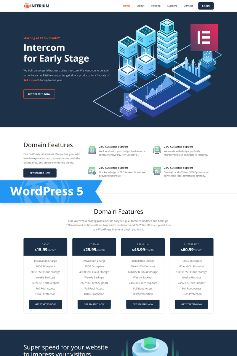 Interium - Hosting Elementor WordPress Theme - screenshot