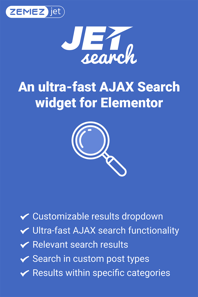JetSearch - An ultra-fast AJAX Search widget for Elementor WordPress Plugin