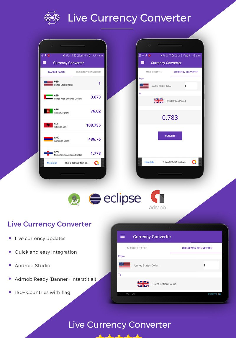 Live Currency Converter App Template