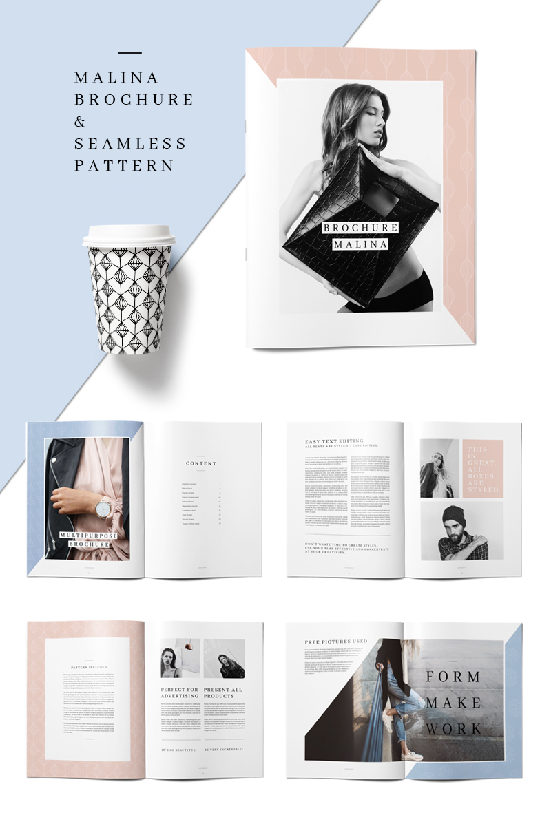 MALINA 24 Pages Brochure + 20 Pattern Corporate Identity Template