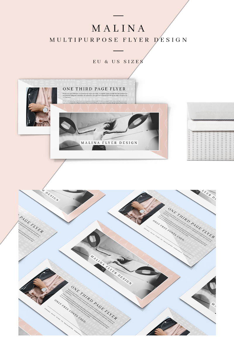 MALINA One Third Page Flyer + Pattern Corporate Identity Template