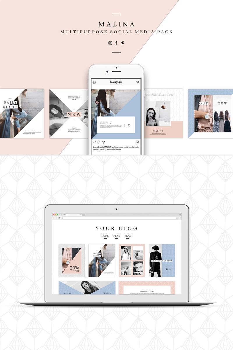 """MALINA Social Media Pack & 20 Pattern"" - Шаблон для соцмереж №76706"