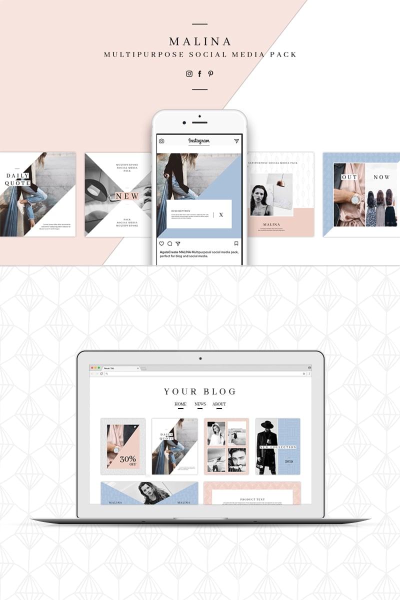 Media społecznościowe MALINA Social Media Pack & 20 Pattern #76706