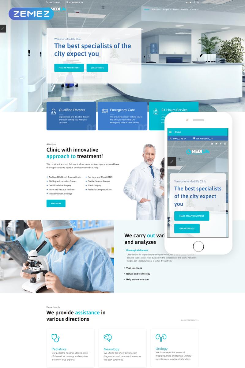 """MEDILife - Medical Sticky Menu Modern"" - адаптивний Joomla шаблон №76770"