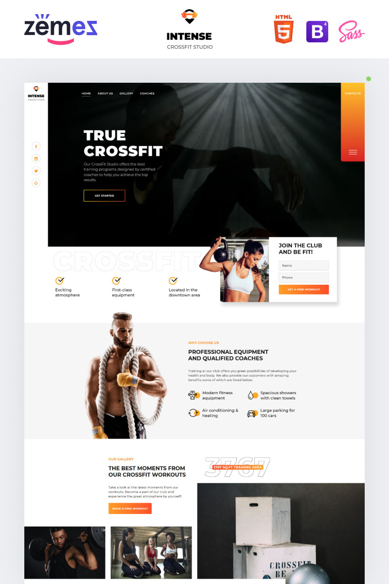 "Modello di Landing Page Responsive #76799 ""Power - CrossFit Studio One Page Creative HTML5"""