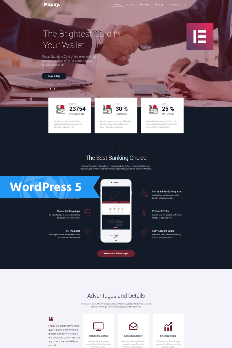 Responsivt Papay - Bank Services Multi-Concept Classic Elementor WordPress-tema #76794