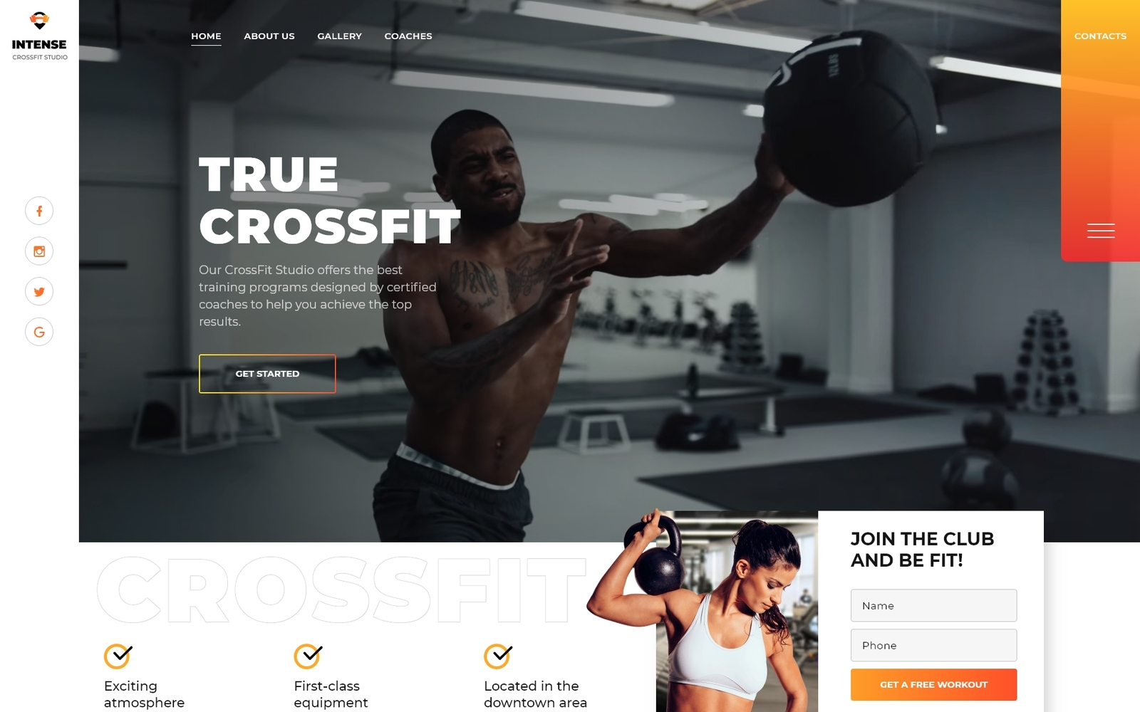 Responsywny szablon Landing Page Power - CrossFit Studio One Page Creative HTML5 #76799