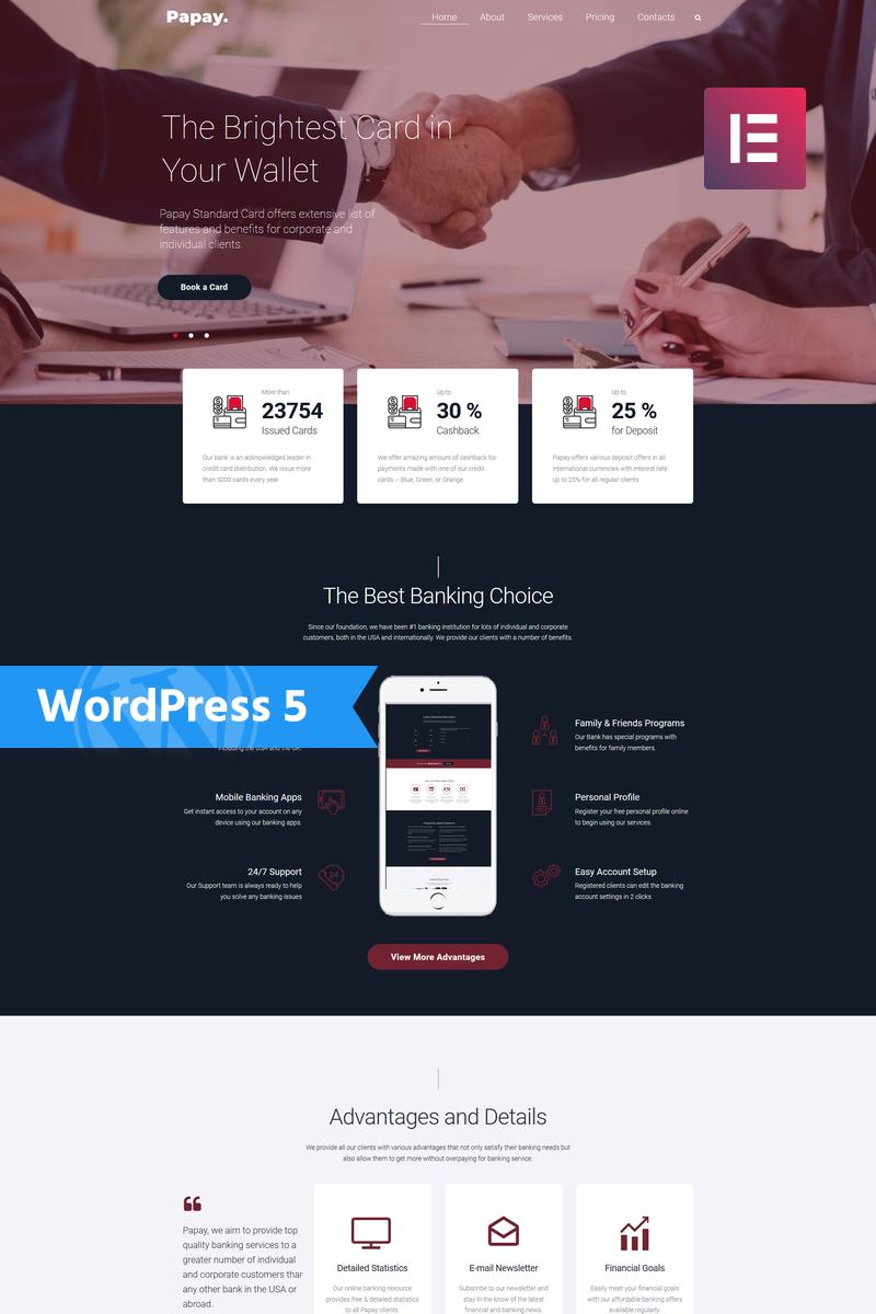"Tema De WordPress ""Papay - Bank Services Multi-Concept Classic Elementor"" #76794"