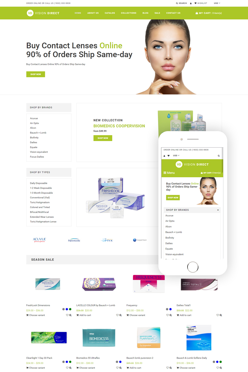 Vision Direct - Contact Lens Easy-to-Navigate Simple Shopify Theme